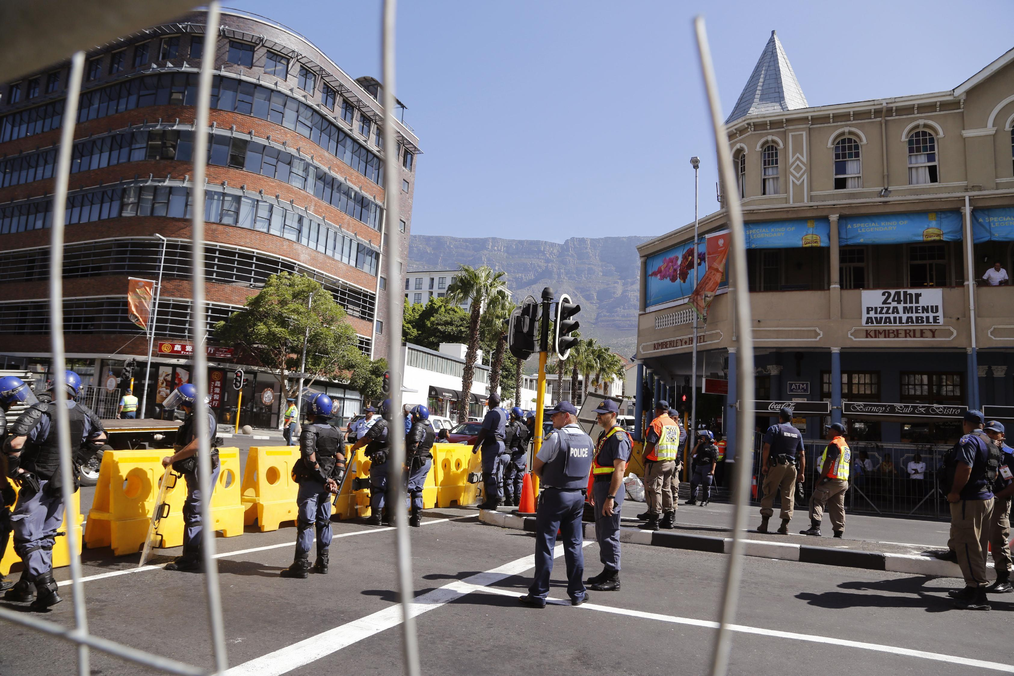 Protests inside, outside during South African nation speech