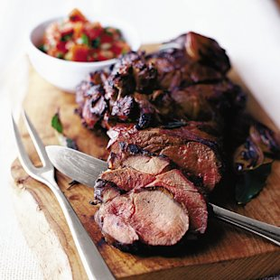 Barbecued leg of lamb with tomato and mint salsa