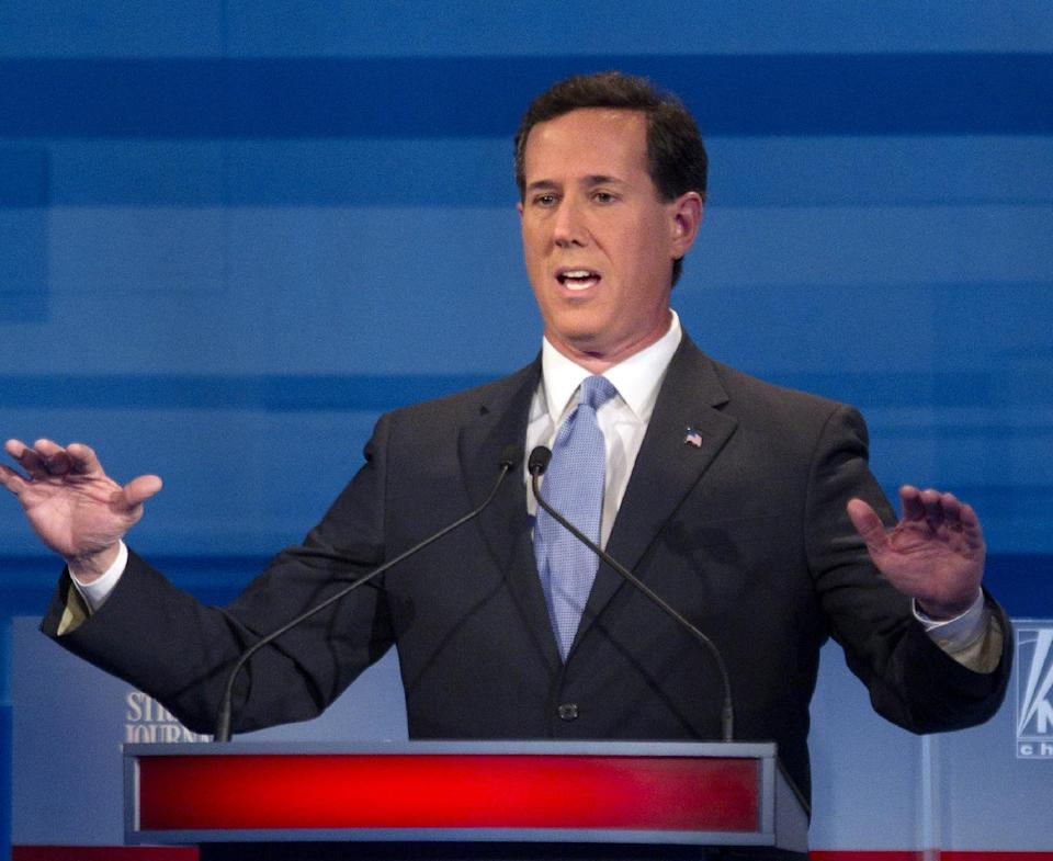 Republican presidential candidate former Pennsylvania Sen. Rick Santorum speaks during the South Carolina Republican presidential candidate debate Monday, Jan. 16, 2012, in Myrtle Beach, S.C. (AP Photo/David Goldman)