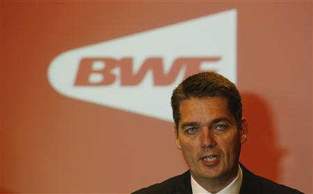 The new president of the Badminton World Federation Poul-Erik Hoyer of Denmark speaks during a news conference in Kuala Lumpur