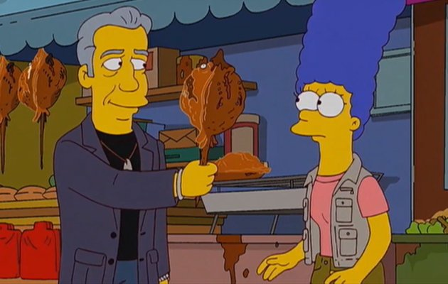 Tony Bourdain offers Marge Simpson some Singapore food. (Screengrab from YouTube)