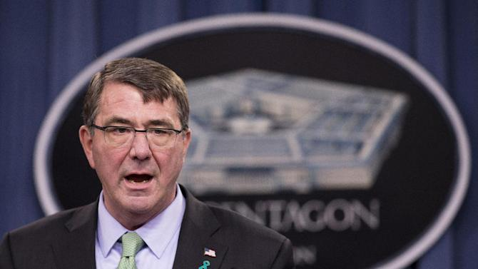FILE - In this May 1, 2015 file photo, Defense Secretary Ash Carter speaks at the Pentagon. As the Pentagon grapples with its strategy to help Iraq fight off the Islamic State, Carter says the key is getting weapons to Sunni militias now cut off by Baghdad.   (AP Photo/Manuel Balce Ceneta)
