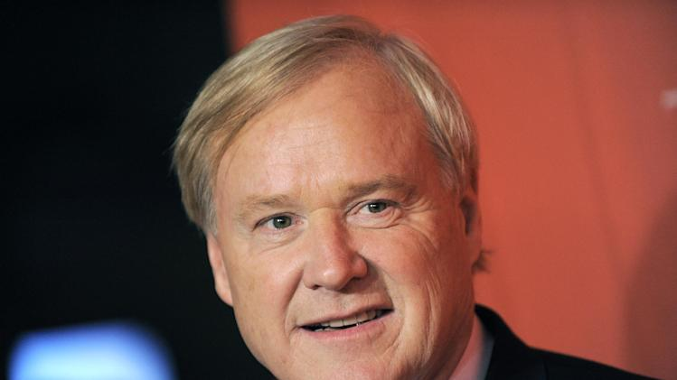 "FILE - This May 5, 2009 file photo shows Chris Matthews arriving at the Time 100 Gala, in New York. The veteran MSNBC host raised his profile as much as any member of the television commentariat during the 2012 presidential campaign. His 5 p.m. ""Hardball"" show has seen viewership jump by 24 percent this year from 2011, 17 percent for the rerun two hours later.  (AP Photo/Evan Agostini, File)"
