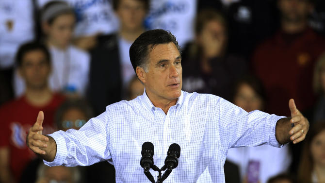 Republican presidential candidate and former Massachusetts Gov. Mitt Romney speaks at a campaign event at Avon Lake High School Monday, Oct. 29, 2012, in Avon Lake, Ohio. (AP Photo/Tony Dejak)