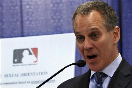 New York Attorney General Schneiderman talks about MLB's policies during a news conference in New York