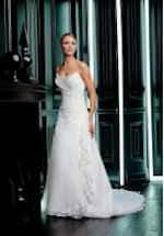 A Line Floor Length Satin/ Chiffon Beading Wedding Dress Style