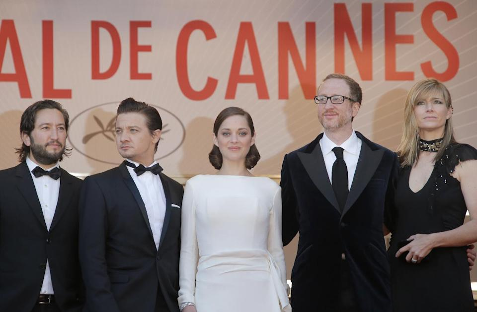 From left, producer Greg Shapiro, actors Jeremy Renner, Marion Cotillard, director James Gray and his wife Ali Gray arrive for the screening of the film  for the screening of The Immigrant at the 66th international film festival, in Cannes, southern France, Friday, May 24, 2013. (AP Photo/Francois Mori)