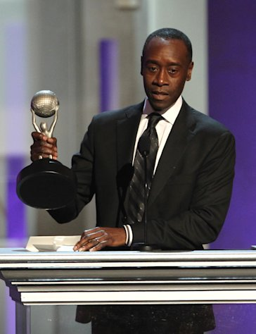 Don Cheadle accepts the award for outstanding actor in a comedy series for &quot;House of Lies&quot; at the 44th Annual NAACP Image Awards at the Shrine Auditorium in Los Angeles on Friday, Feb. 1, 2013. (Photo by Matt Sayles/Invision/AP)