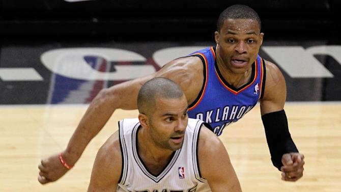 Spurs roll to 2-0 lead with 112-77 rout of Thunder