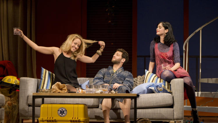 "In this theater publicity image released by The Hartman Group, from left, Anna Camp, Justin Bartha and Krysten Ritter are shown in a scene from Zach Braff's play, ""All New People,"" in New York. (AP Photo/The Hartman Group, Joan Marcus)"