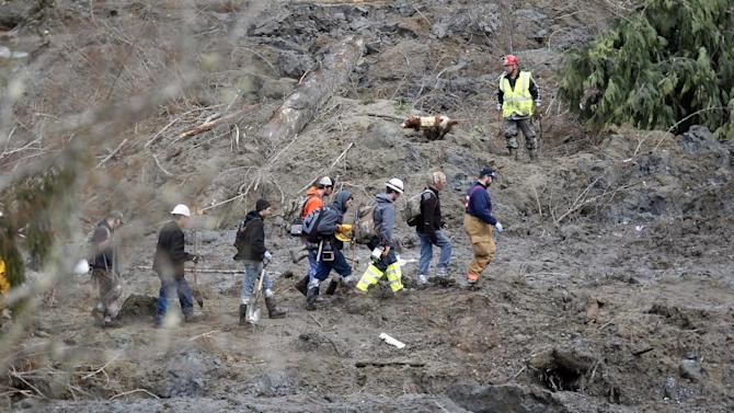 Searchers walk into the scene of a deadly mudslide that covers the road, Wednesday, March 26, 2014, in Oso, Wash. Sixteen bodies have been recovered, but authorities believe at least 24 people were killed. And scores of others are still unaccounted for, although many of those names were believed to be duplicates or people who escaped safely. (AP Photo/Rick Wilking, Pool)
