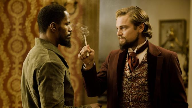 "In this undated publicity photo released by The Weinstein Company, from left, Jamie Foxx as Django and Leonardo DiCaprio as Calvin Candle star in the film, ""Django Unchained,"" directed by Quentin Tarantino. ""Flight,"" ""Django Unchained,"" ""Beasts of the Southern Wild,"" ""Red Tails"" and ""Tyler Perry's Good Deeds"" are up for the outstanding motion picture trophy at the 44th annual NAACP Image Awards. (AP Photo/The Weinstein Company, Andrew Cooper, SMPSP)"