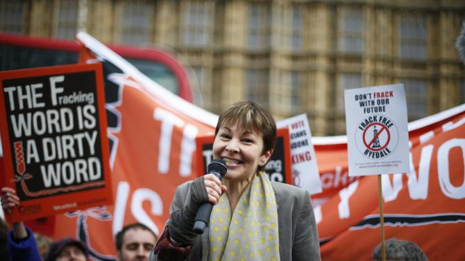 Caroline Lucas, MP for Brighton for the Green Party speaks at a protest against fracking outside the Houses of Parliament in Westminster, in central London