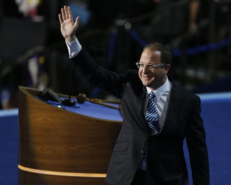 Rep. Jared Polis of Colorado waves after speaking to delegates at the Democratic National Convention in Charlotte, N.C., on Tuesday, Sept. 4, 2012. (AP Photo/Lynne Sladky)