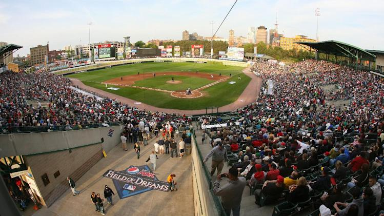 IMAGES DISTRIBUTED FOR PEPSI MAX - A general view of Frontier Field at the 2013 Pepsi MAX Field of Dreams Game on Saturday, May 18, 2013 in Rochester, NY. (Photo by Bill Wippert/Invision for Pepsi MAX/AP Images)