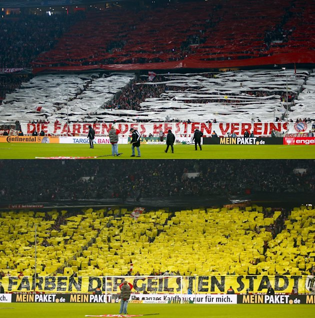 File images of Borussia Dortmund fans and Bayern Munich fans