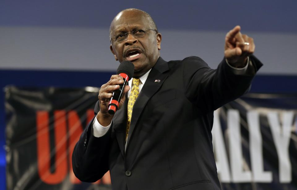 Former Republican presidential hopeful, businessman Herman Cain speaks during a Unity Rally Sunday Aug. 26, 2012, in Tampa, Fla. (AP Photo/Chris O'Meara)