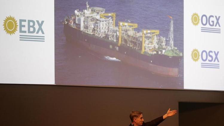 Batista, CEO of EBX Group, talks during a ceremony in celebration of the start of oil production of OGX in Rio de Janeiro