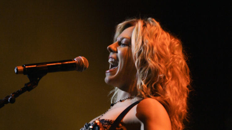 Kimberly Perry of The Band Perry performs during the All for the Hall concert on Tuesday, April 10, 2012, in Nashville, Tenn. The concert is a benefit for the Country Music Hall of Fame and Museum. (AP Photo/Mark Humphrey)
