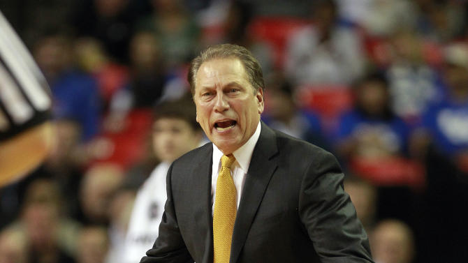 Michigan State head coach Tom Izzo reacts on the sideline during the first half of an NCAA college basketball game against the Michigan State in Atlanta, Tuesday, Nov. 13, 2012. (AP Photo/John Bazemore)