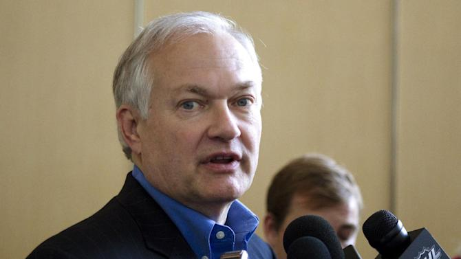 Donald Fehr, executive director of the NHL Players' Association, talks to journalists after leaving hockey labor negotiations with the NHL, Monday, Aug. 13, 2012, in Toronto. (AP Photo/The Canadian Press, Chris Young)