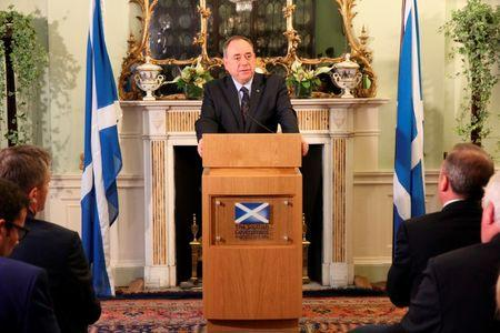 Scottish Government handout photo shows Scotland's First Minister Salmond speaking during a news conference in Edinburgh