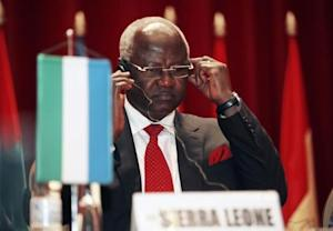 Sierra Leone's President Bai Koroma attends a meeting of ECOWAS in Yamoussoukro