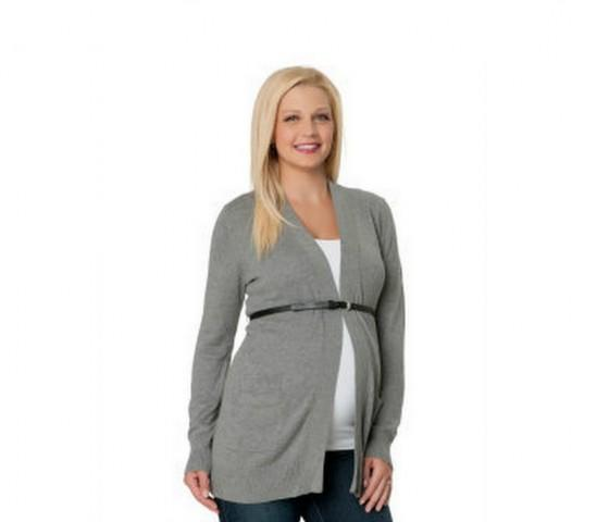 Gray Belted Maternity Cardigan