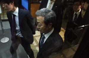 Cheng leaves after a meeting at the Foreign Ministry in Tokyo