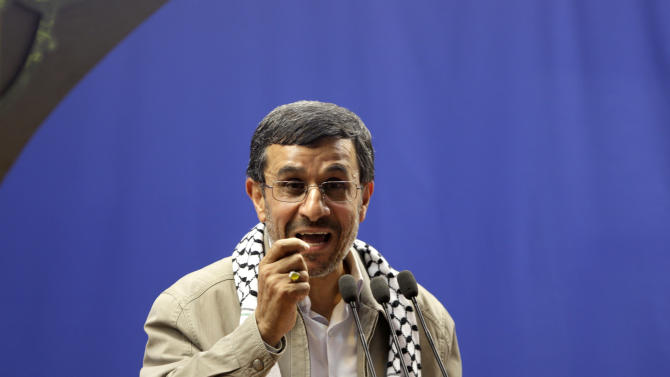 "Iranian President Mahmoud Ahmadinejad speaks at the conclusion of an annual pro-Palestinian rally, marking Quds (Jerusalem) Day, on the last Friday of the holy month of Ramadan, at the Tehran University campus, in Tehran, Iran, Friday, Aug. 17, 2012. Iran's president says Israel's existence is an ""insult to all humanity."" It's one of his sharpest attacks yet against the Jewish state. It comes as Israel openly debates whether to attack Iran over its nuclear program. Iran and Israel have been bitter enemies for decades. Israel considers Iran an existential threat because of its nuclear and missile programs and repeated references by Iranian leaders to Israel's destruction. (AP Photo/Vahid Salemi)"