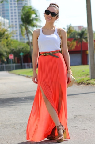 Bright and Pleated Maxi Skirt 