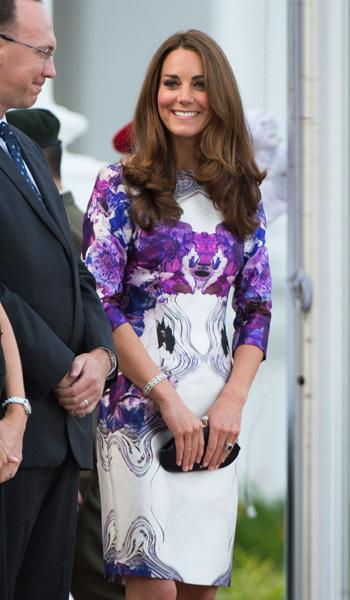 Later in the evening, Kate decided to be a bit more daring by changing into a bright purple Prabal Gurung dress for the state dinner at Singapore's Istana. It's not Kate's typical look which is why it