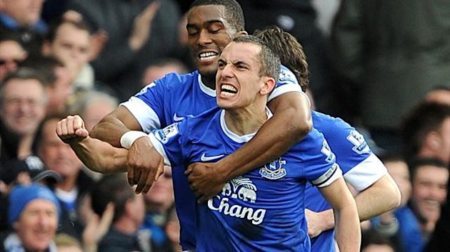 Everton's Leon Osman celebrates scoring their first goal of the game with team-mate Sylvain Distin (left) (PA Sport)