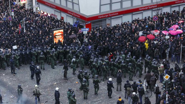 Overview shows German police as they block protesters on a cross road following clashes in front of the 'Rote Flora' cultural centre during a demonstration in Hamburg