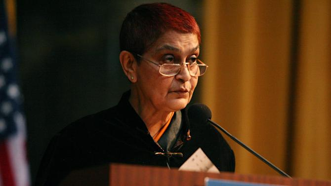 In this March 21, 2007 photo released by the Inamori Foundation, India's Gayatri Spivak, a literary critic and professor at Columbia University, is shown. Spivak, 70, won the annual Kyodo Prize for arts and philosophy Friday, June 22, 2012. (AP Photo/Michael Dames, The Inamori Foundation) EDITORIAL USE ONLY, MANDATORY CREDIT
