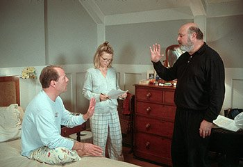 Bruce Willis , Michelle Pfeiffer and director Rob Reiner on the set of Universal's The Story Of Us