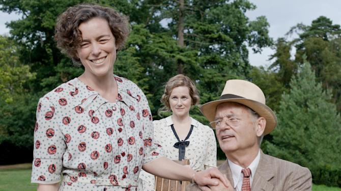 """This film image released by Focus Features shows, from left, Olivia Williams as Eleanor Roosevelt, Laura Linney as Daisy, and Bill Murray as Franklin D. Roosevelt in a scene from """"Hyde Park on Hudson."""" (AP Photo/Focus Features, Nicola Dove)"""