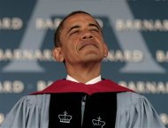 U.S. President Barack Obama pauses before he delivers the commencement address for the 2012 graduating class at Barnard College in New York May 14, 2012. REUTERS/Larry Downing