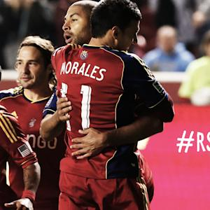 GOAL: Javier Morales heads one in from a corner