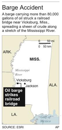 Map locates site of oil barge accident along the Mississippi River.