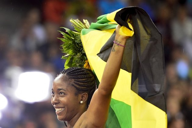 Jamaica's Shelly-Ann Fraser-Pryce celebrates after winning the Women's 100m, August 30, 2012 in Zurich