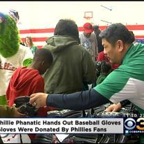 Phillie Phanatic Hands Out 100 Baseball Gloves To Children In North Philadelphia