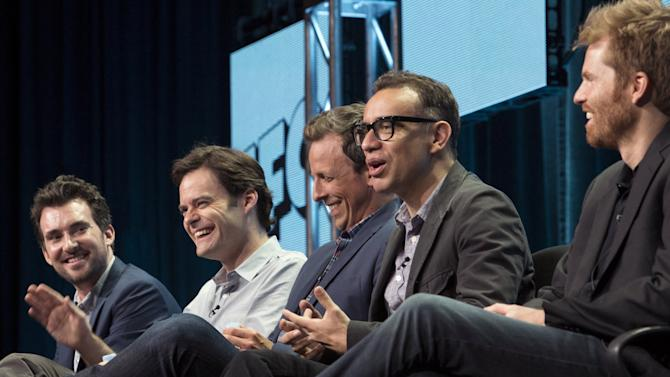 "Executive producers and creators Thomas, Hader, Meyers, Armisen, and director Buono participate in the IFC ""Documentary Now!"" panel at the TCA Summer 2015 Press Tour in Beverly Hills"