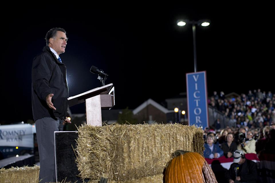 Republican presidential candidate, former Massachusetts Gov. Mitt Romney speaks during a campaign stop on Tuesday, Oct. 9, 2012 in Cuyahoga Falls, Ohio.  (AP Photo/ Evan Vucci)