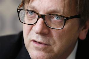 Verhofstadt, former Belgian PM and leader of the liberals in the European Parliament, answers reporters' questions during the Reuters Future of the Euro Zone Summit in Brussels