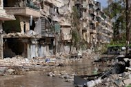 "View of the destruction to the Suleiman al-Halabi neighbourhood of the northern Syrian city of Aleppo, on October 30, 2012. UN investigators on Tuesday said they had ""reasonable grounds"" to believe chemical weapons have been used by both sides in Syria, and warned that crimes against humanity are now occurring daily in the war-torn country"
