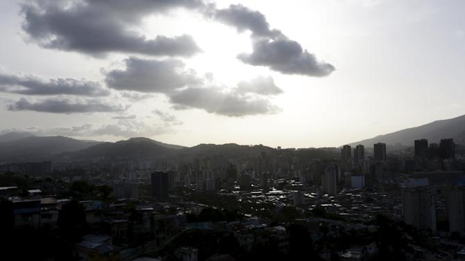 A general view of Caracas at  sunset