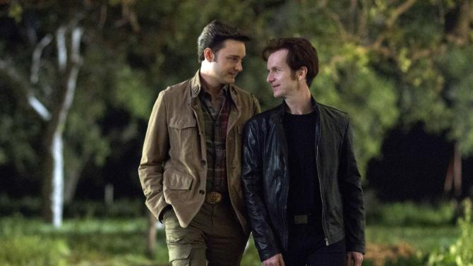 "This image released by HBO shows Michael McMillian, left, and Denis O'Hare in a scene from ""True Blood."" The 17th annual ""Where We Are on TV"" report released Friday by the Gay & Lesbian Alliance Against Defamation (GLAAD) found that 4.4 percent of actors appearing regularly on prime-time network drama and comedy series during the 2012-13 season will portray lesbian, gay, bisexual or transgender (LGBT) characters. This is up from 2.9 percent in 2011, which saw a dip in what had been a growing trend. The HBO drama ""True Blood"" remains the most inclusive series on cable television, featuring six LGBT characters. (AP Photo/HBO, John P. Johnson)"