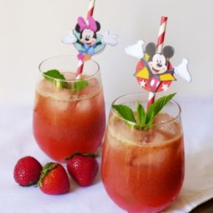 Strawberry Basil Mint Lemonade! What a combo!