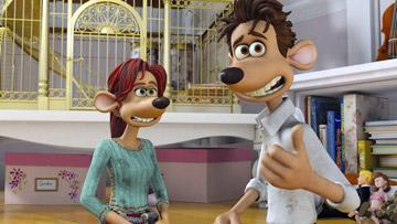 Rita (voiced by Kate Winslet ) and Roddy (voiced by Hugh Jackman ) in DreamWorks Animation's Flushed Away